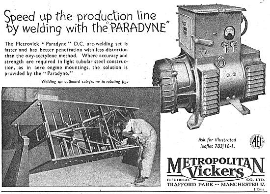 Metrovick Paradyne Arc-Welding Set 1947