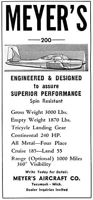 Meyers 200 Aircraft 1957