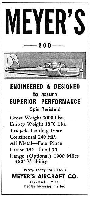 Meyers 200 Aircraft 1958