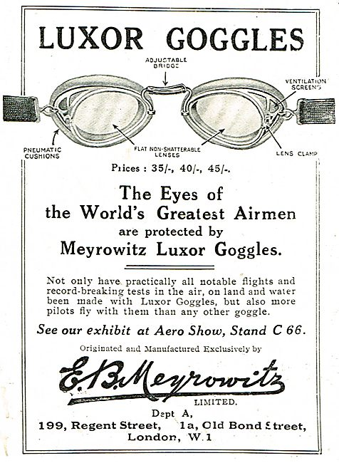 Meyrowitz Luxor Googles - Used By The World's Greatest Airmen