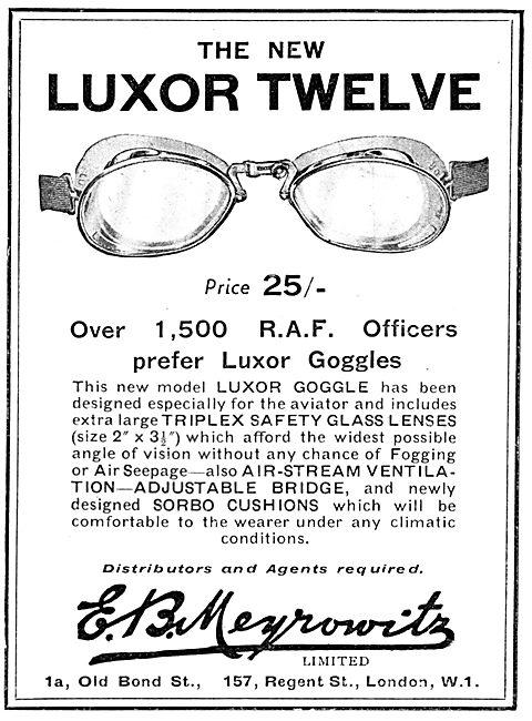 Meyrowitz Luxor Flying Googles - Triplex Lenses. Sorbo Cushions