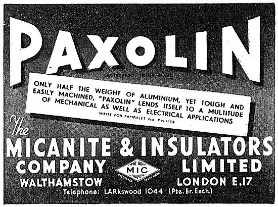 Micanite & Insulators.  Paxolin 1943