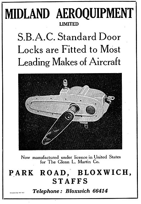 Midland Aeroquipment SBAC Standard Door Locks For Aircraft