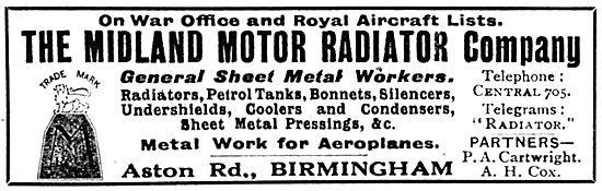 The Midland Motor Radiator Company. Aero Engine Radiators