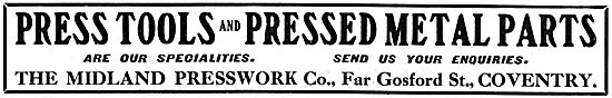 Midland Presswork Co. Pressed Metal Parts For Aircraft 1917