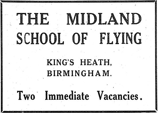 The Midland School Of Flying. Kings Heath Birmingham