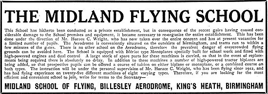 The Midland Flying School. Billesley Aerodrome, Birmingham