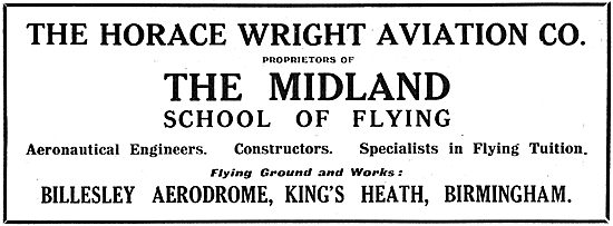 The Midland School Of Flying, Billesley. Horace Wright Aviation