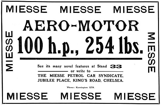 The Miesse Petrol Car Syndicate. Aero-Engines