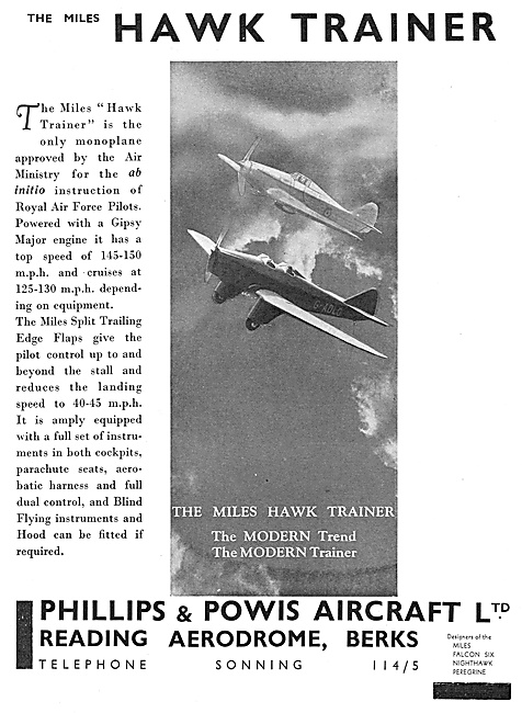 Philips & Powis Aircraft. Miles Hawk Trainer 1936