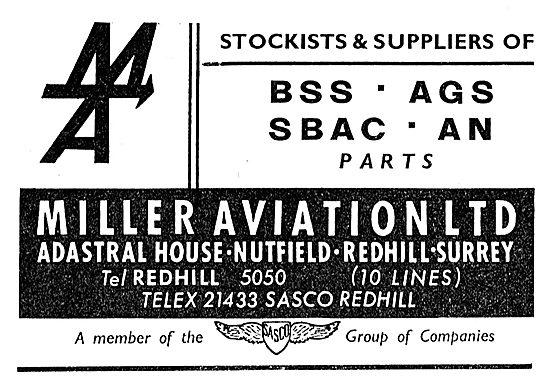 Miller Aviation - Stockists & Suppliers Of AGS Parts: SASCO