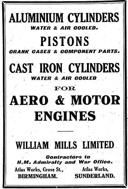 William Mills Aero Engine Aluminium Cylinders & Pistons
