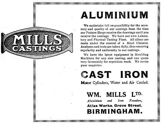 William Mills Aluminium Alloy Castings. Cast Iron Cylinders 1919