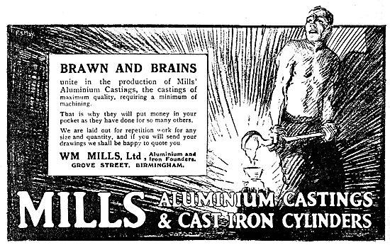 William Mills Aluminium & Iron Castings. 1920 Advert