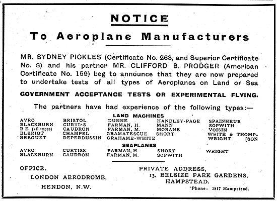 Messrs Pickles & Prodger Test Pilots
