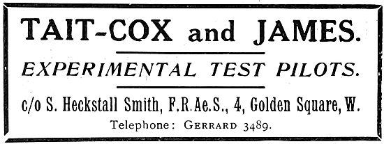 Tait-Cox & James Experimental Test Pilots. 1922