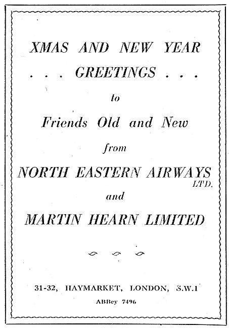 North Eastern Airways & Martin Hearn Christmas Greetings 1942