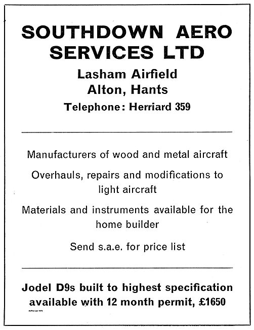 Southdown Aero Services Manufacturers Of Wood & Metal Aircraft