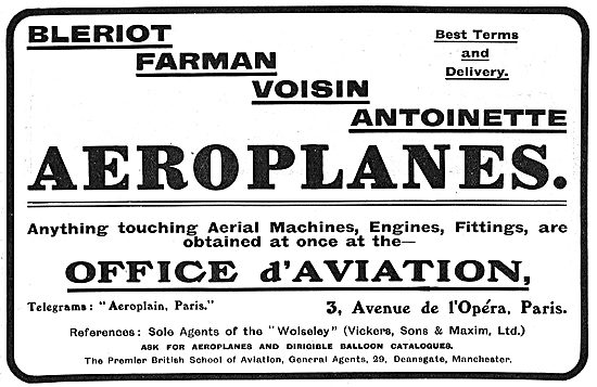 Office d'Aviation For Bleriot, Farman & Antionette Aeroplanes
