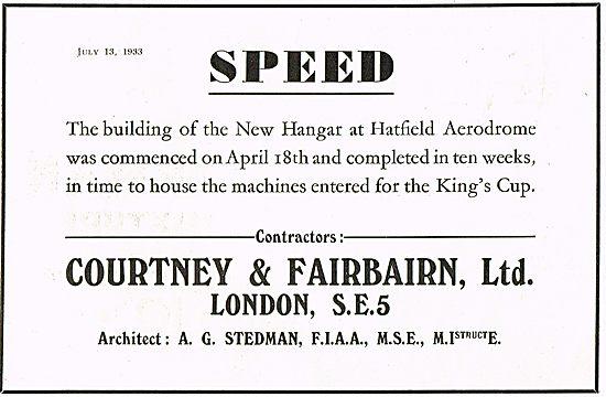 Courtney & Fairbairn Hatfield Hangar Construction