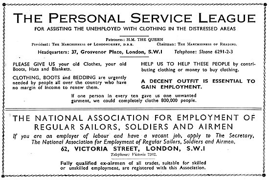 The Personal Service League - Assisting Unemployed Servicemen