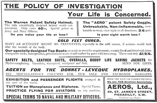 Aero Ltd For Flying Suits, Warren Safety Helmets & Safely Belts