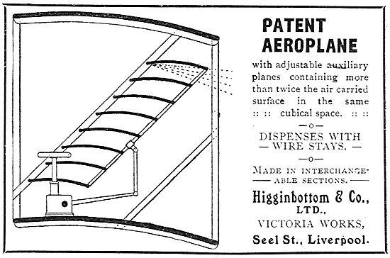 Higginbottom & Co. Patenet Aeroplane Wing Design