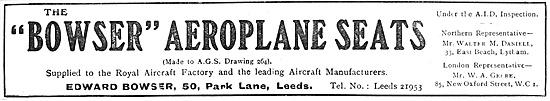 The Bowser Aeroplane Seat 1918