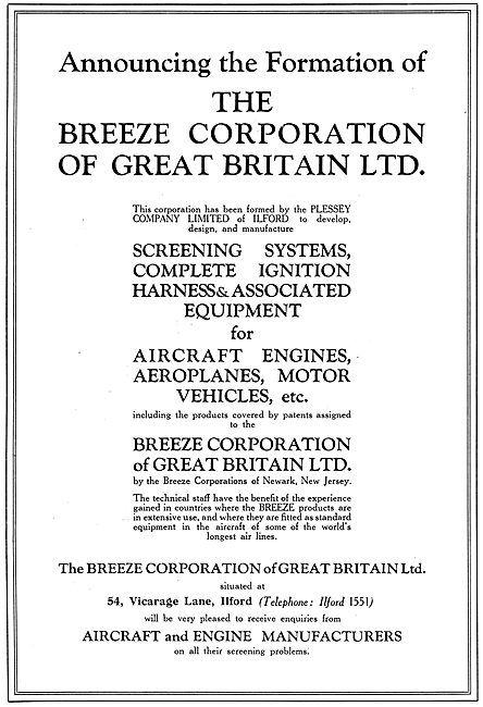 The Breeze Corporation G.B. - Plessey. Elcetrical Components