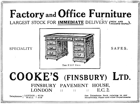 Cookes Factory & Office Furniture 1918