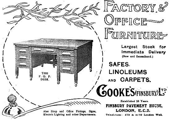 Cooke's Finsbury - Office Equipment & Furniture. 1919 Advert