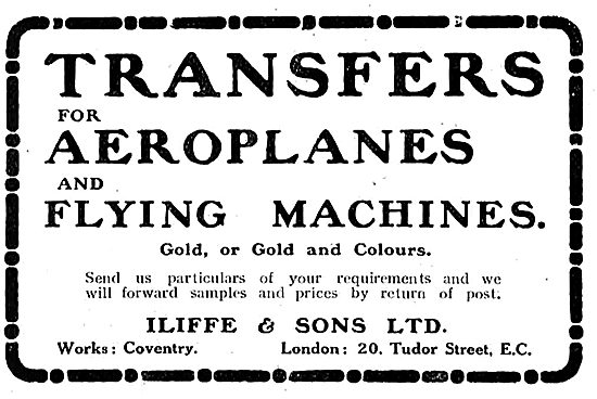 Iliffe & Sons Ltd - Transfers For Aeroplanes & Flying Machines