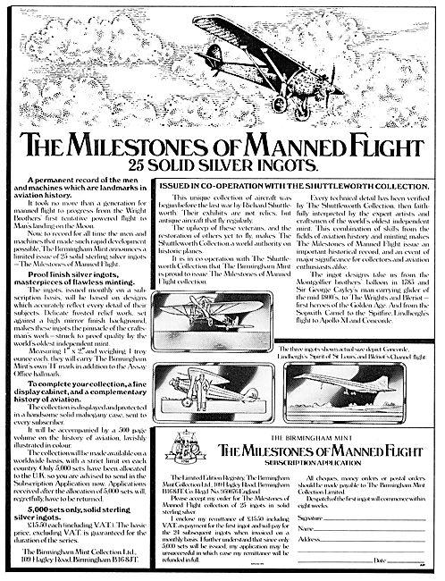 The Milestones Of Flight Silver Ingots - Birmingham Mint