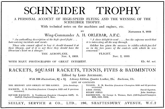 Schneider Trophy A Personal Account By  A H Orlebar