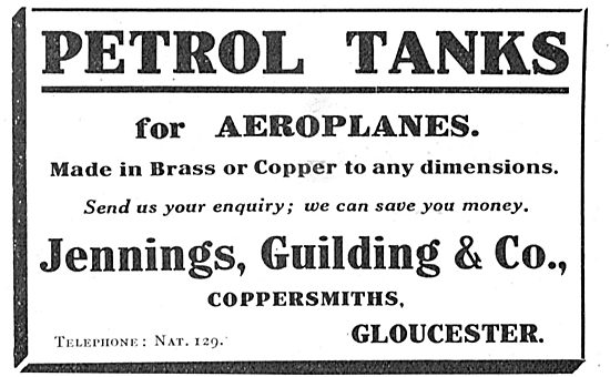 Jennings, Guilding & Co Gloucester Coppersmiths Aero Petrol Tanks