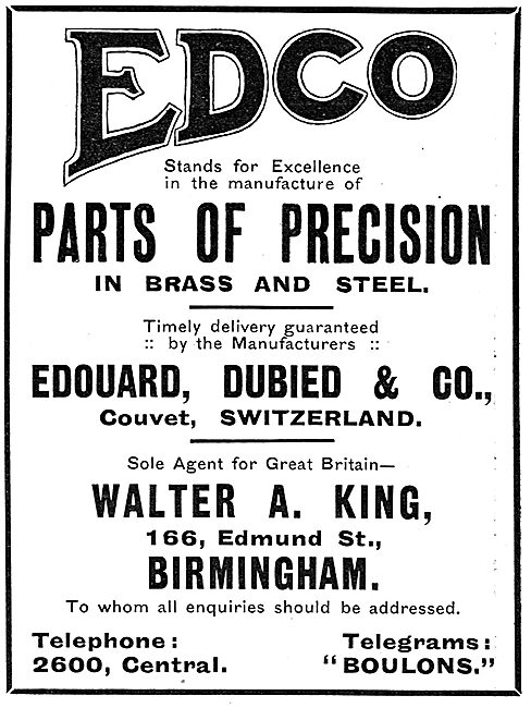 Walter A.King. Birmingham. Agents For Edouard, Dubied & Co