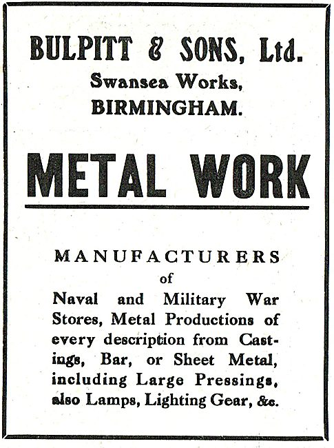 Bulpitt & Sons Metal Work. Swansea Works, Birmingham