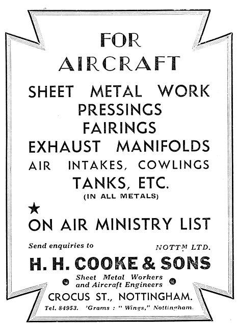 H.H.Cooke & Sons. Crocus Street Nottingham. Sheet Metal Work
