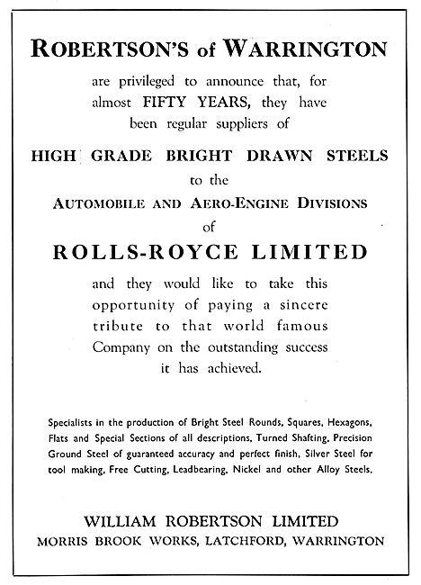 William Robertson Ltd. Latchford. Warrington. Bright Drawn Steels