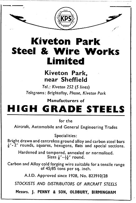 Kiveton Park High Grade Steels & Wires For Aircraft