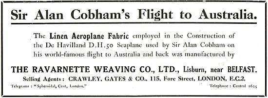 The Ravarnette Weaving Co Ltd Lisburn - Aeroplane Fabric