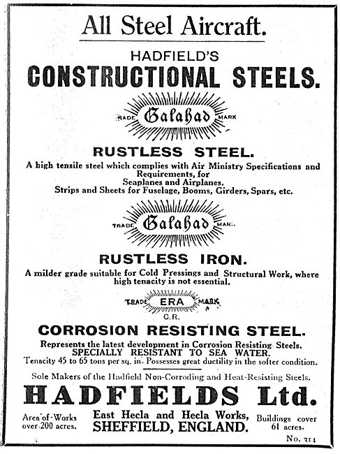 Hadfields Rustless Steel For All Steel Aircraft Manufacturing