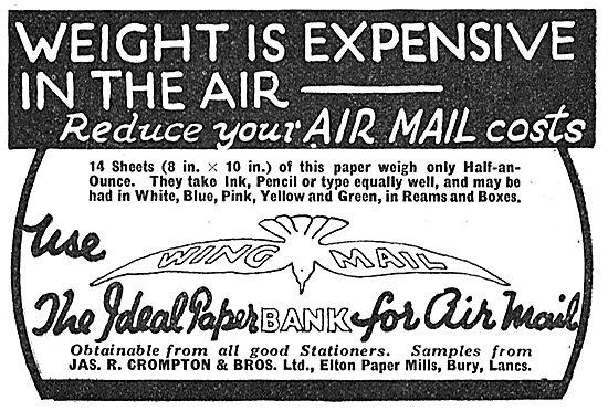 JAS R Crompton Wing Mail - Air Mail Paper