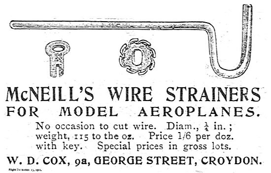 W.D.Cox. Croydon  - McNeills Wire Strainers For Model Aeroplanes