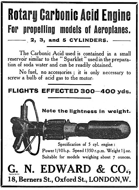 Rotary Carbonic Acid Engine For Propelling Models Of Aeroplanes