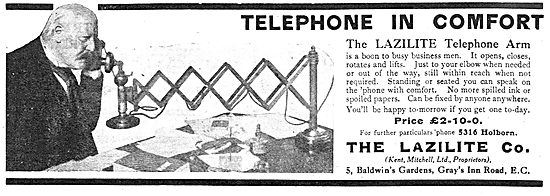 The Lazilite Company - Lazilite Telephone Arm. 1918 Advert