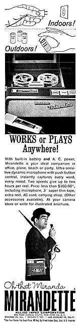 Allied Impex Mirandette Portable Tape Recorder 1962