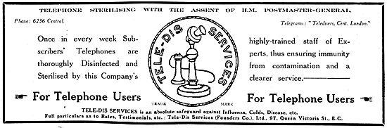 WW1 Tele-Dis Service. Telephone Disinfecting Service Advert