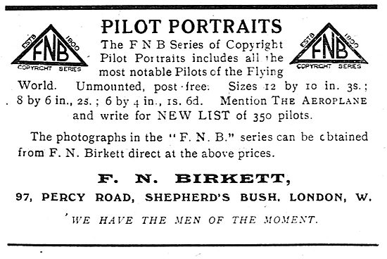 F.N.Birkett's Pilot Portraits. 97 Percy Rd, Sheperds Bush.