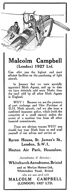 Malcolm Campbell (London) 1927 Ltd. Moth Agents 1929